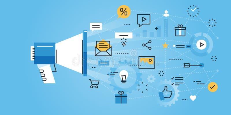 Linea piana insegna del sito Web di progettazione dell'introduzione sul mercato digitale royalty illustrazione gratis