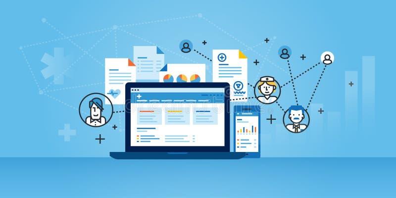 Linea piana insegna del sito Web di progettazione delle soluzioni della gestione di piano di salute illustrazione vettoriale