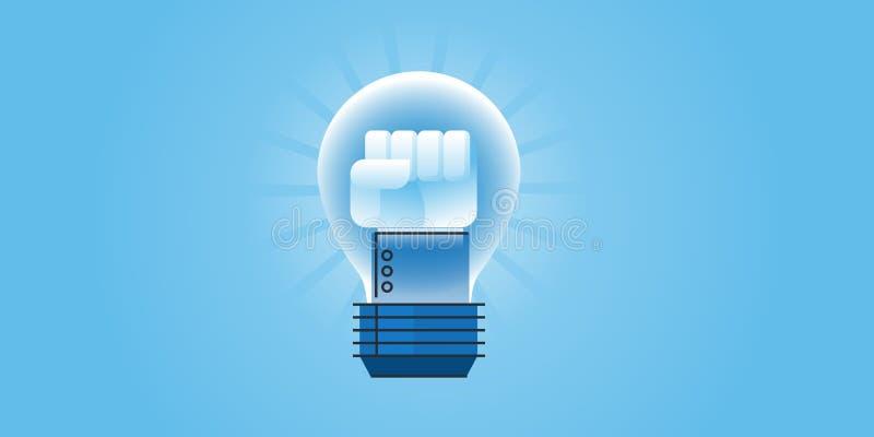 Linea piana insegna del sito Web di progettazione di grande idea, il potere delle idee royalty illustrazione gratis