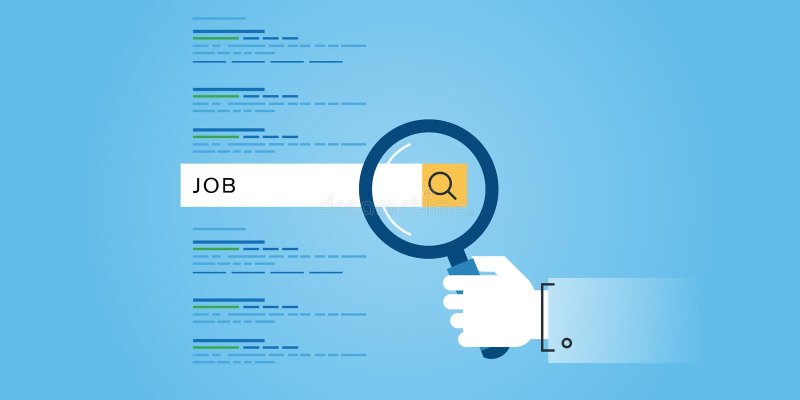 Linea piana insegna delle ricerche di lavoro, carriera, possibilità d'impiego, risorse umane del sito Web di progettazione illustrazione di stock