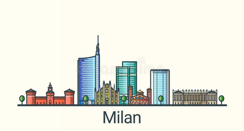 Linea piana insegna di Milano royalty illustrazione gratis
