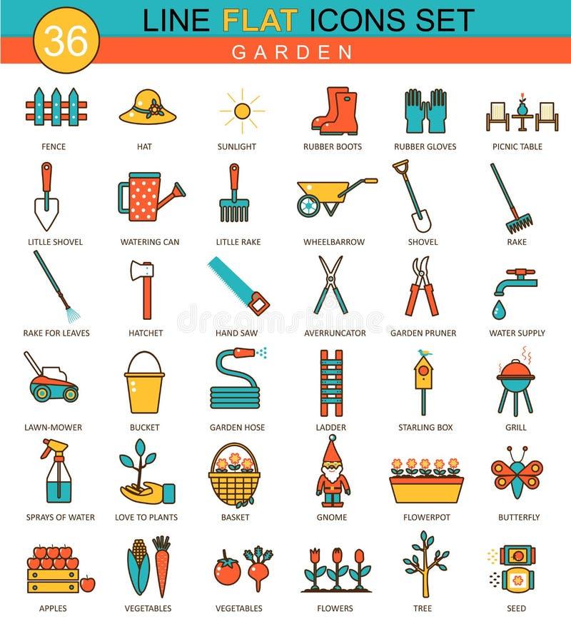 Linea piana insieme degli strumenti di giardino di vettore dell'icona Progettazione moderna di stile elegante per il web illustrazione di stock
