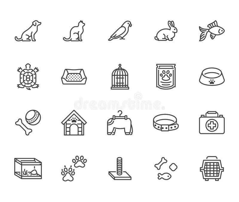 Linea piana insieme del negozio di animali delle icone Trasportatore del cane, scratcher del gatto, gabbia per uccelli, coniglio, royalty illustrazione gratis