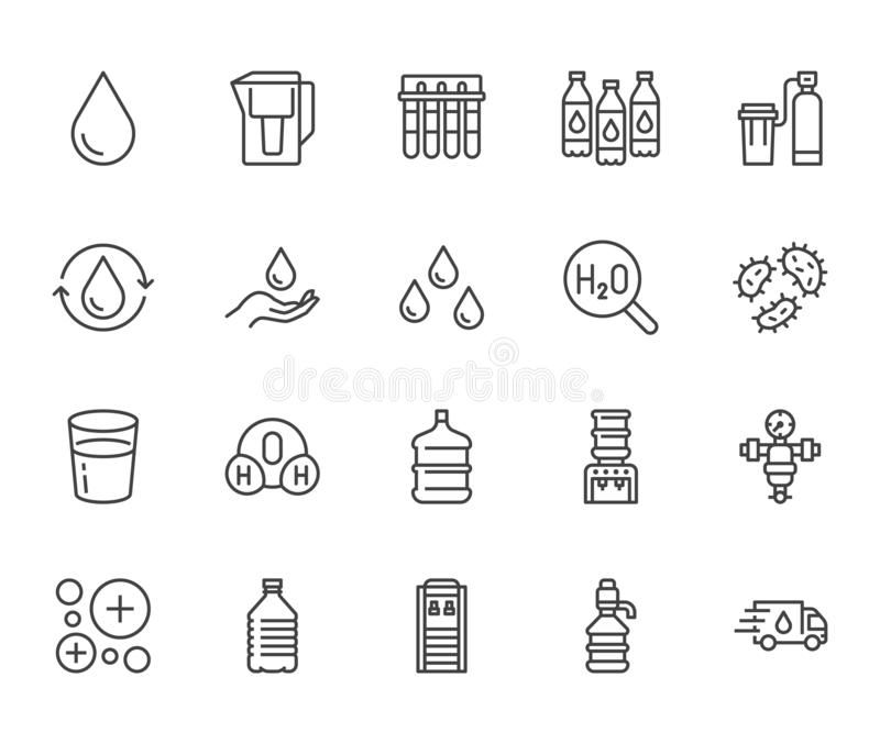 Linea piana insieme della goccia di acqua delle icone L'acqua filtra, emolliente, ionizzazione, la disinfezione, illustrazioni di royalty illustrazione gratis