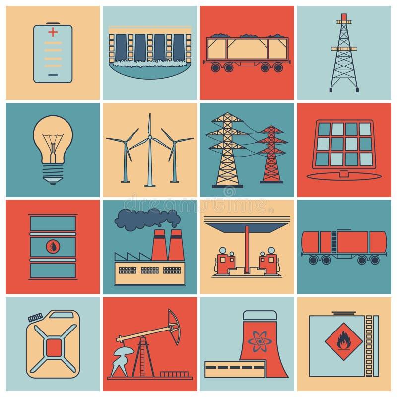 Linea piana insieme delle icone di energia illustrazione di stock