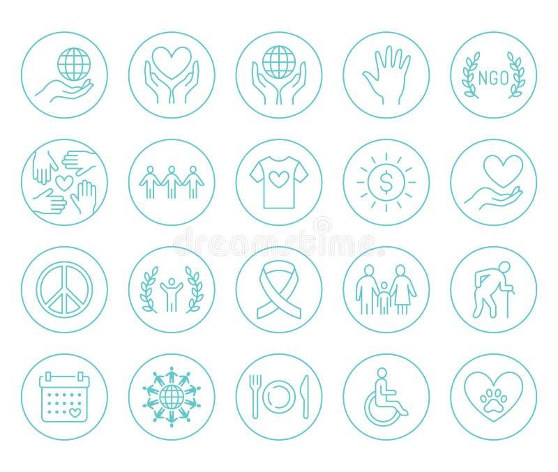Linea piana insieme di carità delle icone Donazione, organizzazione no-profit, ONG, dante aiuto le illustrazioni di vettore Il pr illustrazione vettoriale