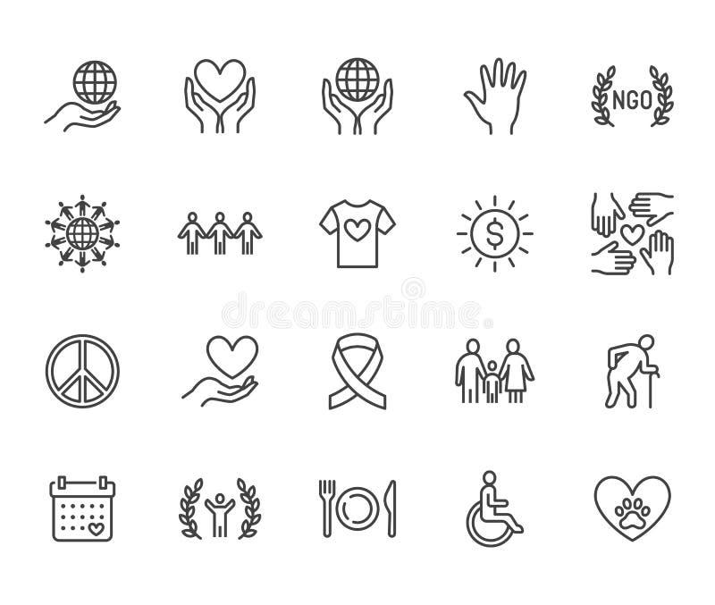 Linea piana insieme di carità delle icone Donazione, organizzazione no-profit, ONG, dante aiuto le illustrazioni di vettore Segni illustrazione vettoriale