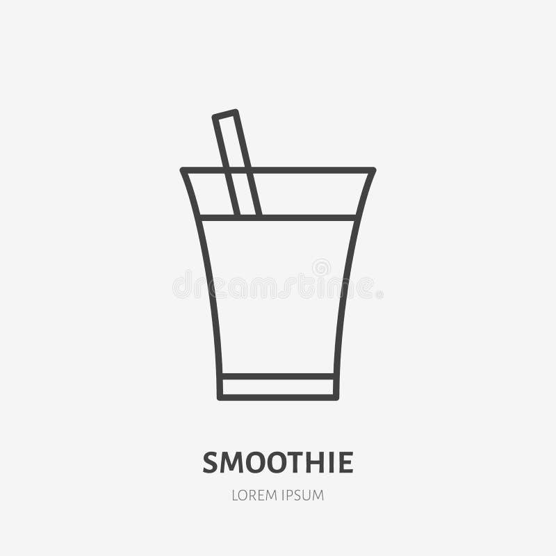 Linea piana logo, bevanda fresca, succo del frullato nell'icona di vetro di vettore Illustrazione della bevanda Segno per gli ali illustrazione vettoriale