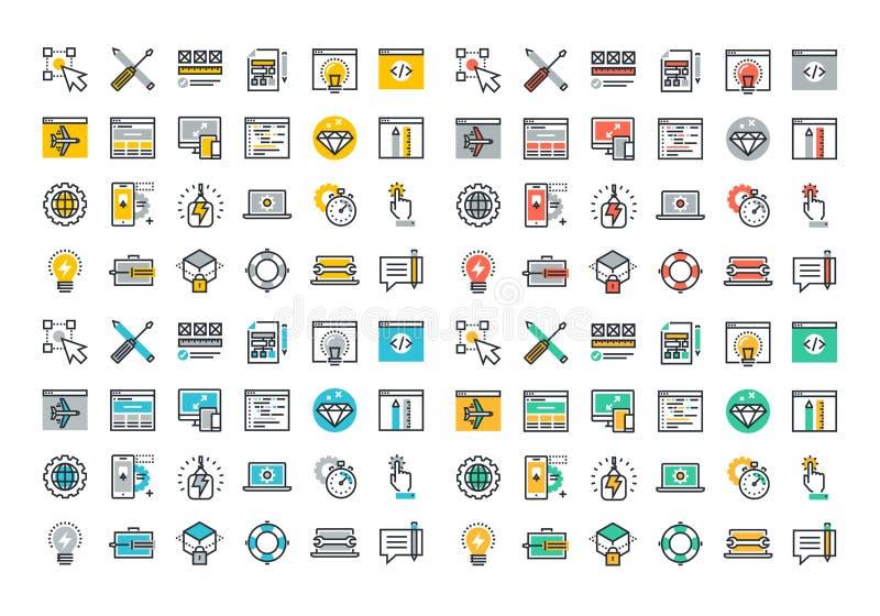 Linea piana raccolta variopinta delle icone di web design e di sviluppo