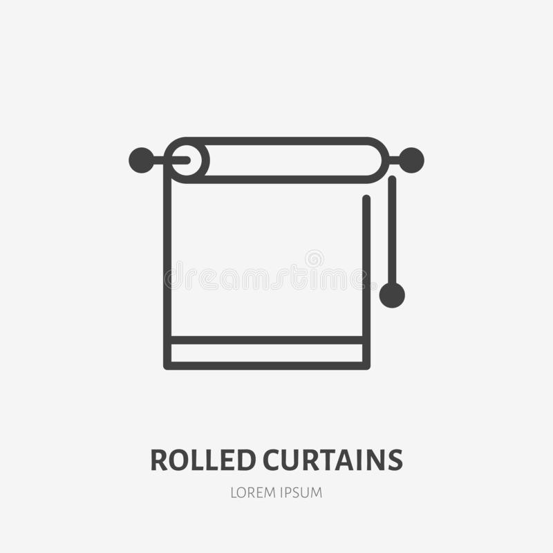 Linea piana rotolata icona delle tende Illustrazione di vettore degli otturatori della finestra Segno sottile per la decorazione  royalty illustrazione gratis