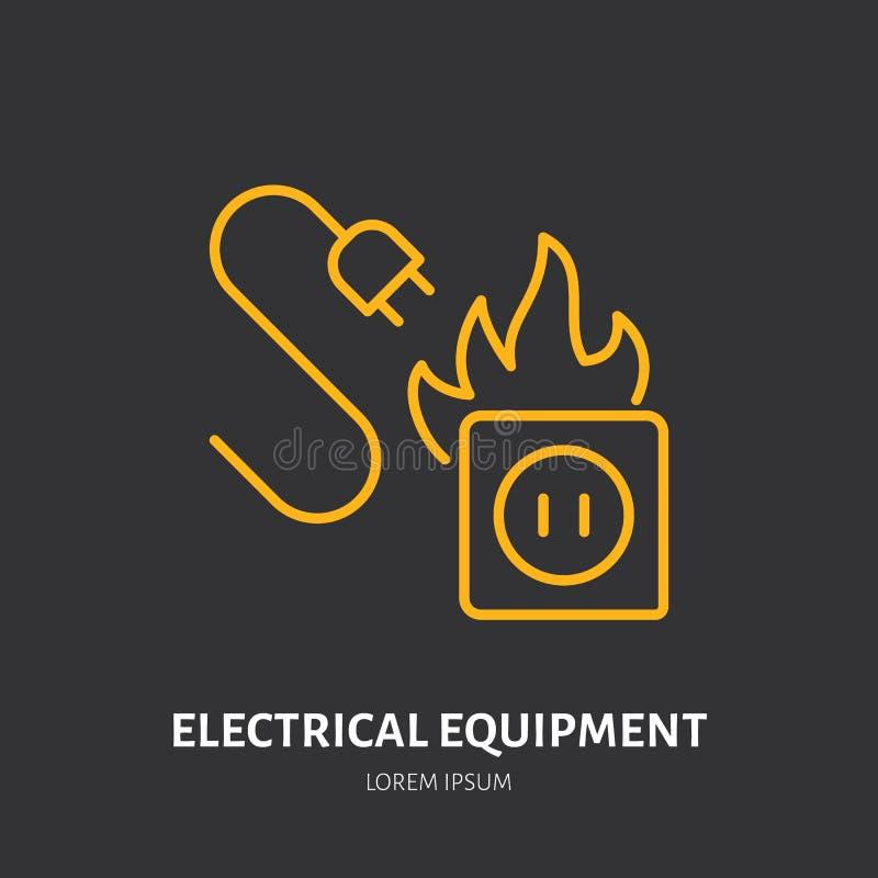 Linea piana segno dell'estintore di tipo del fuoco del materiale elettrico Icona lineare sottile di protezione della fiamma, pitt illustrazione di stock