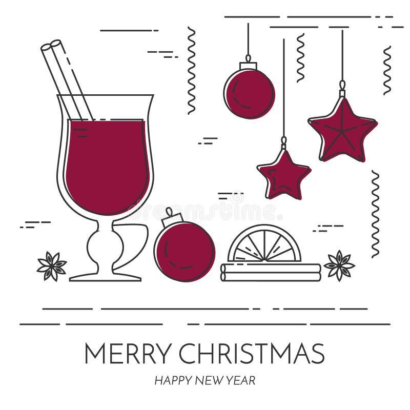 Linea piana vettore dell'insegna del vin brulé di vendite di inverno di arte royalty illustrazione gratis