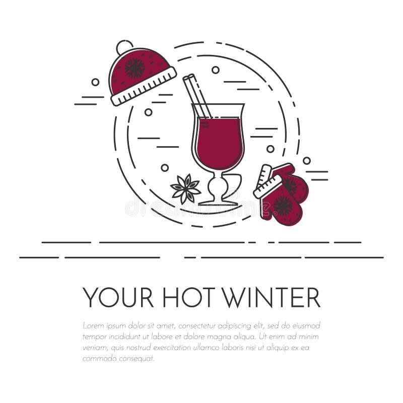 Linea piana vettore dell'insegna del vin brulé di vendite di inverno di arte illustrazione vettoriale