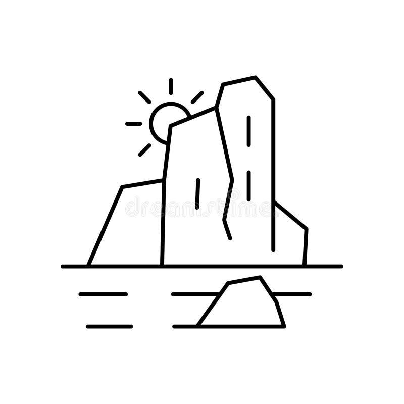 Linea polare icona del paesaggio dell'iceberg Elemento dell'icona dei paesaggi royalty illustrazione gratis