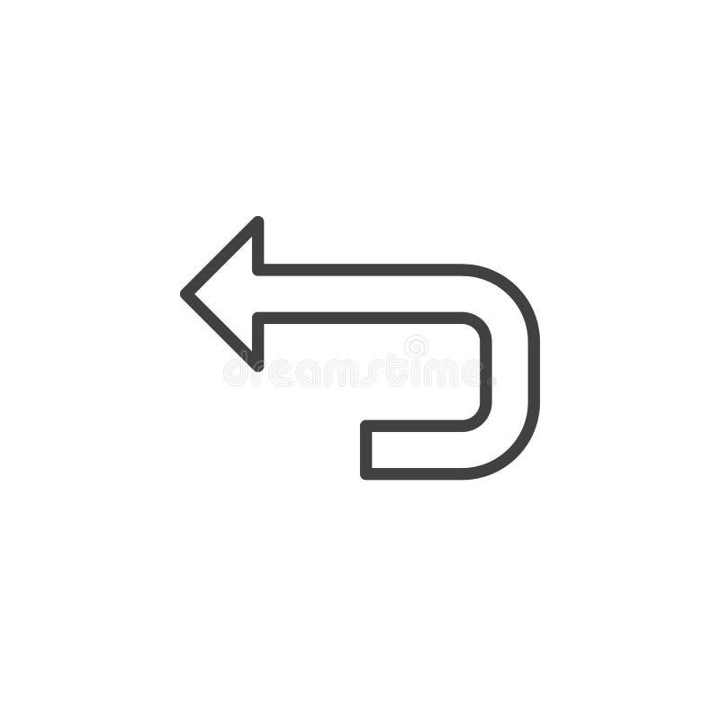 Linea posteriore icona, segno di vettore del profilo, pittogramma lineare della freccia di stile isolato su bianco illustrazione di stock