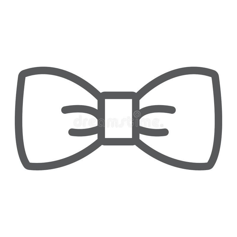 Linea privata di cravatta a farfalla icona, smoking e nodo, segno della cravatta, grafica vettoriale, un modello lineare su un fo illustrazione vettoriale