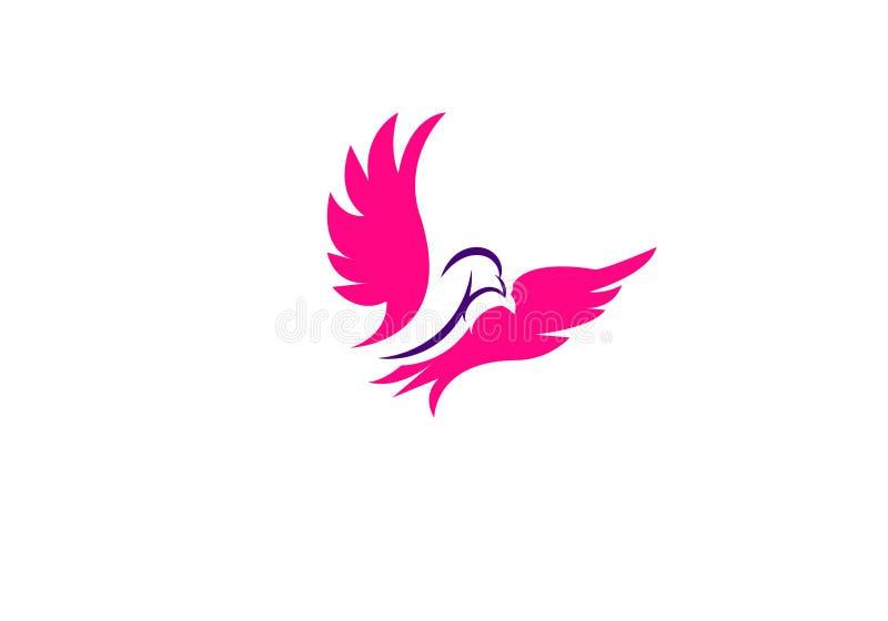 Linea profilo di colore di monoline di download del modello dell'icona di vettore di logo dell'uccello di arte royalty illustrazione gratis