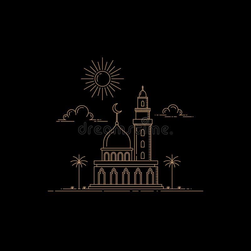Linea progettazione della moschea di stile di arte illustrazione vettoriale