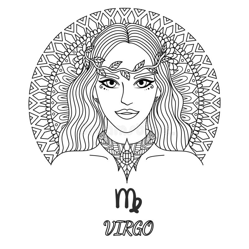 Linea progettazione di arte di bella ragazza, segno dello zodiaco del virgo per l'elemento di progettazione e pagina del libro da illustrazione vettoriale