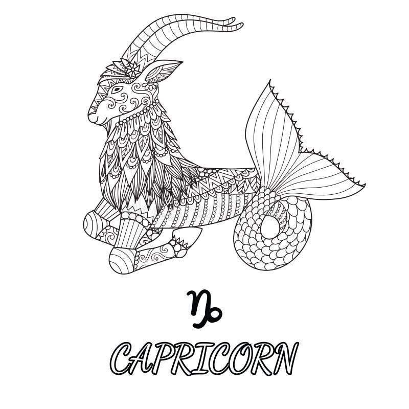Linea progettazione di arte del segno dello zodiaco di capricorno per l'elemento di progettazione e la pagina del libro da colora illustrazione vettoriale
