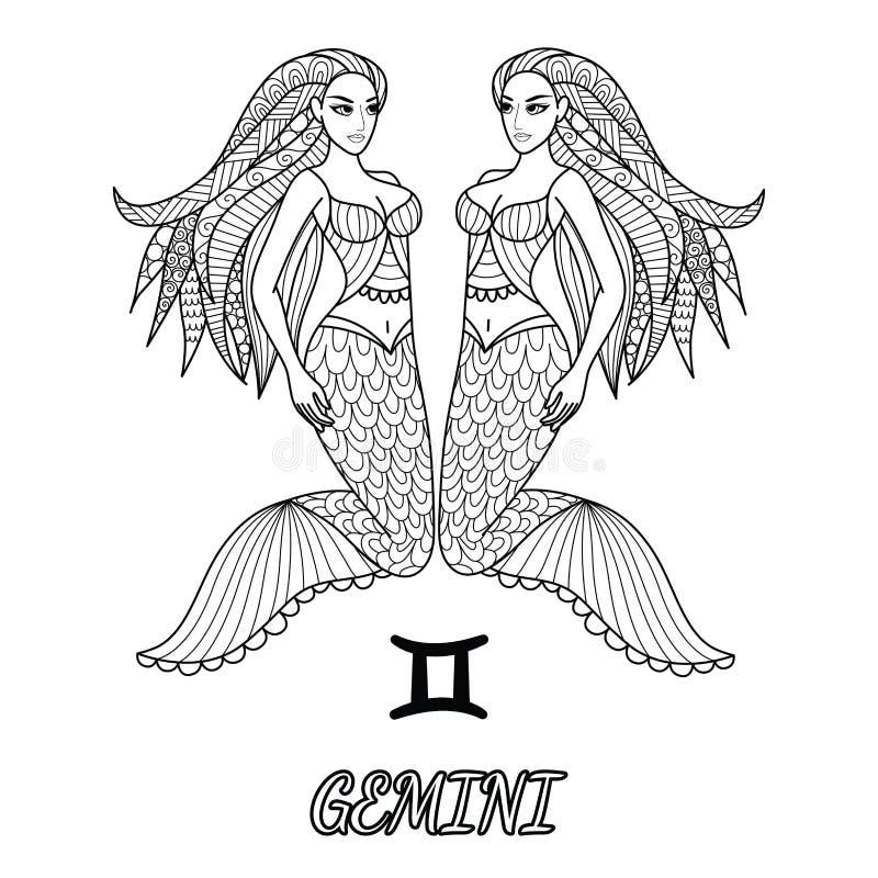 Linea progettazione di arte del segno dello zodiaco dei Gemelli per l'elemento di progettazione e la pagina del libro da colorare royalty illustrazione gratis