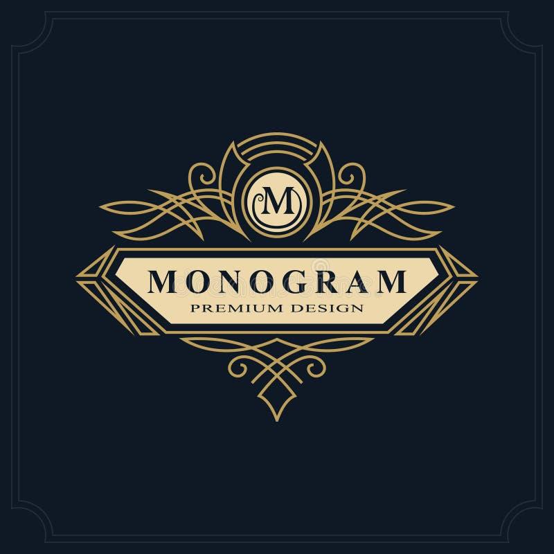 Linea progettazione di lusso del monogramma di arte, modello grazioso Bello logo elegante calligrafico Segno m. dell'emblema dell illustrazione di stock