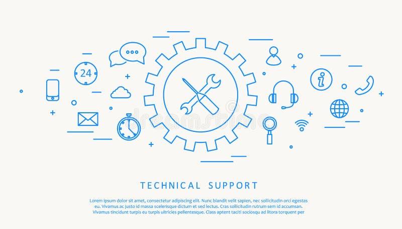 Linea progettazione di thine del supporto tecnico illustrazione di stock