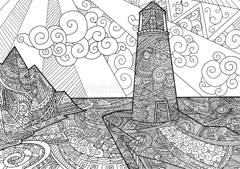 Linea progettazione di vista sul mare di arte per il libro da colorare per coloritura adulta e anti di sforzo illustrazione di stock