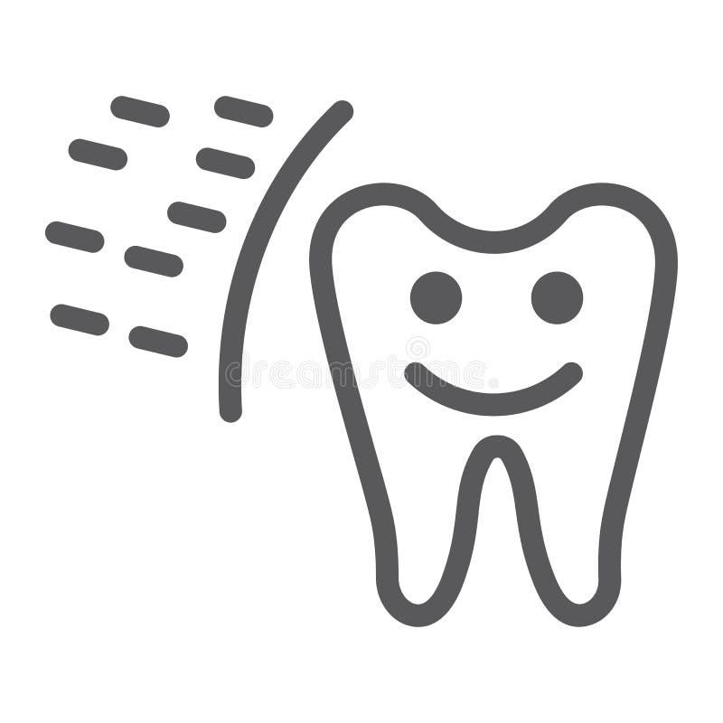 Linea protettiva icona del dente, bocca e segno dentario e sano del dente, grafica vettoriale, un modello lineare su un fondo bia illustrazione di stock