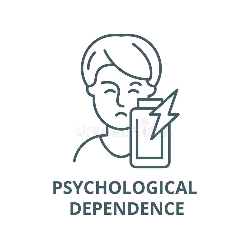 Linea psicologica icona, concetto lineare, segno del profilo, simbolo di vettore di dipendenza royalty illustrazione gratis