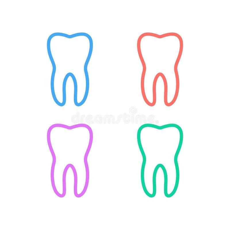 Linea pulita insieme del dente dell'icona Segno lineare di stile dei denti per il concetto ed il web design mobili Icona sana di  illustrazione vettoriale