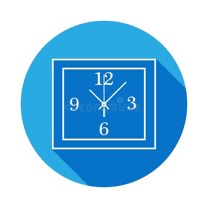 Linea quadrata icona dell'orologio di parete Icona dell'orologio con ombra lunga Progettazione grafica di qualità premio Segni, r illustrazione di stock