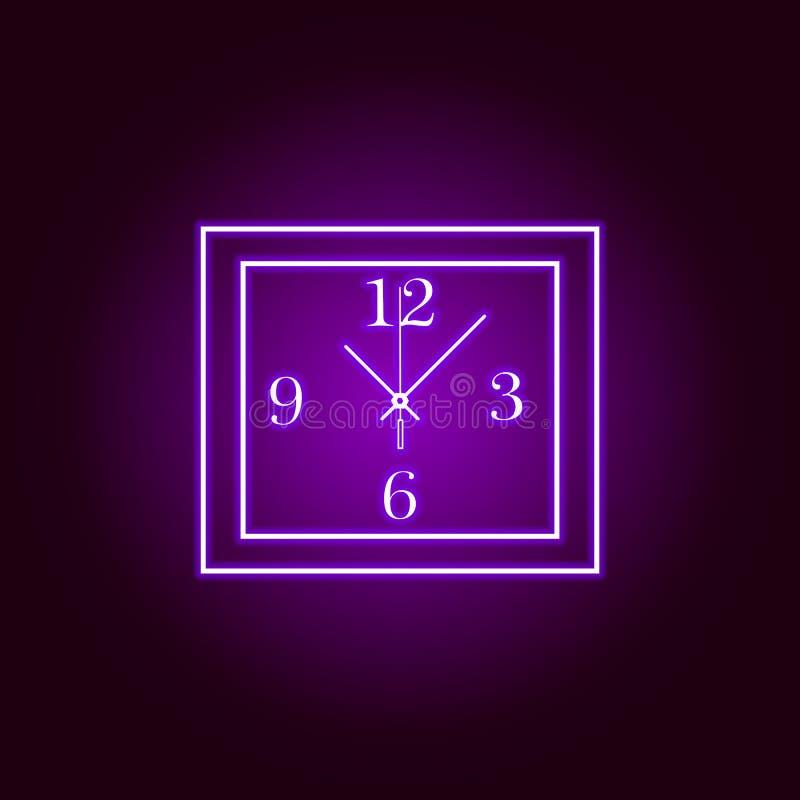 Linea quadrata icona dell'orologio di parete nello stile al neon Progettazione grafica di qualit? premio Segni, raccolta di simbo illustrazione di stock