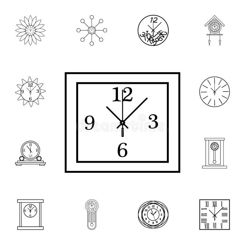 Linea quadrata icona dell'orologio di parete Icona dell'orologio Progettazione grafica di qualità premio Segni, raccolta di simbo royalty illustrazione gratis