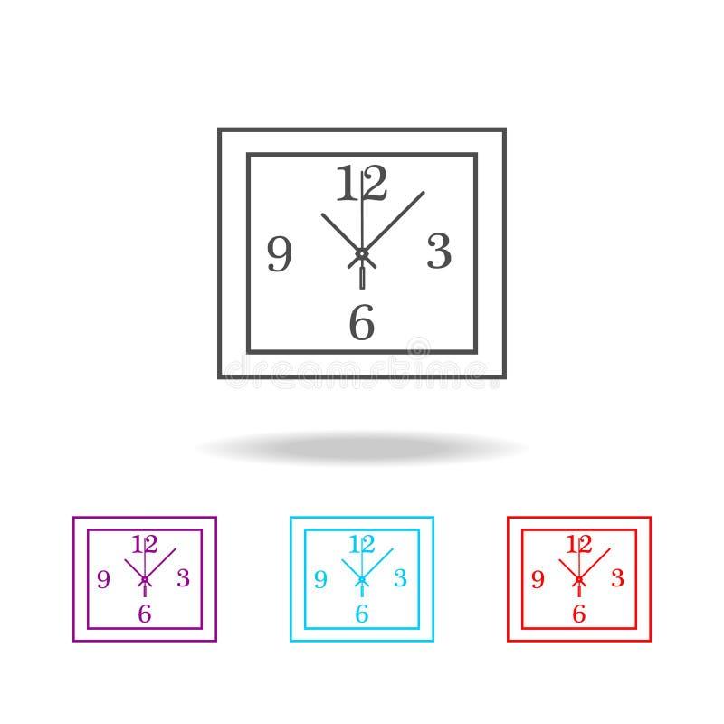 Linea quadrata icona dell'orologio di parete Icona dell'orologio Progettazione grafica di qualità premio Segni, raccolta di simbo illustrazione di stock