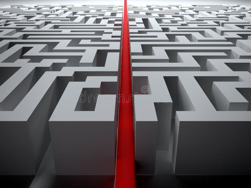 Linea retta tramite il labirinto illustrazione di stock