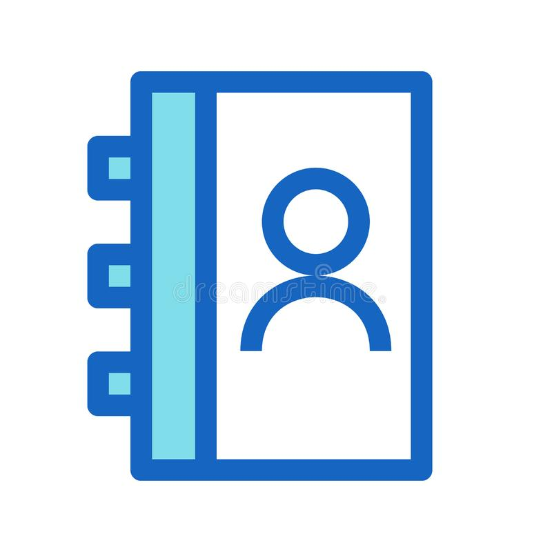Linea riempita libro di indirizzo colore blu dell'icona royalty illustrazione gratis