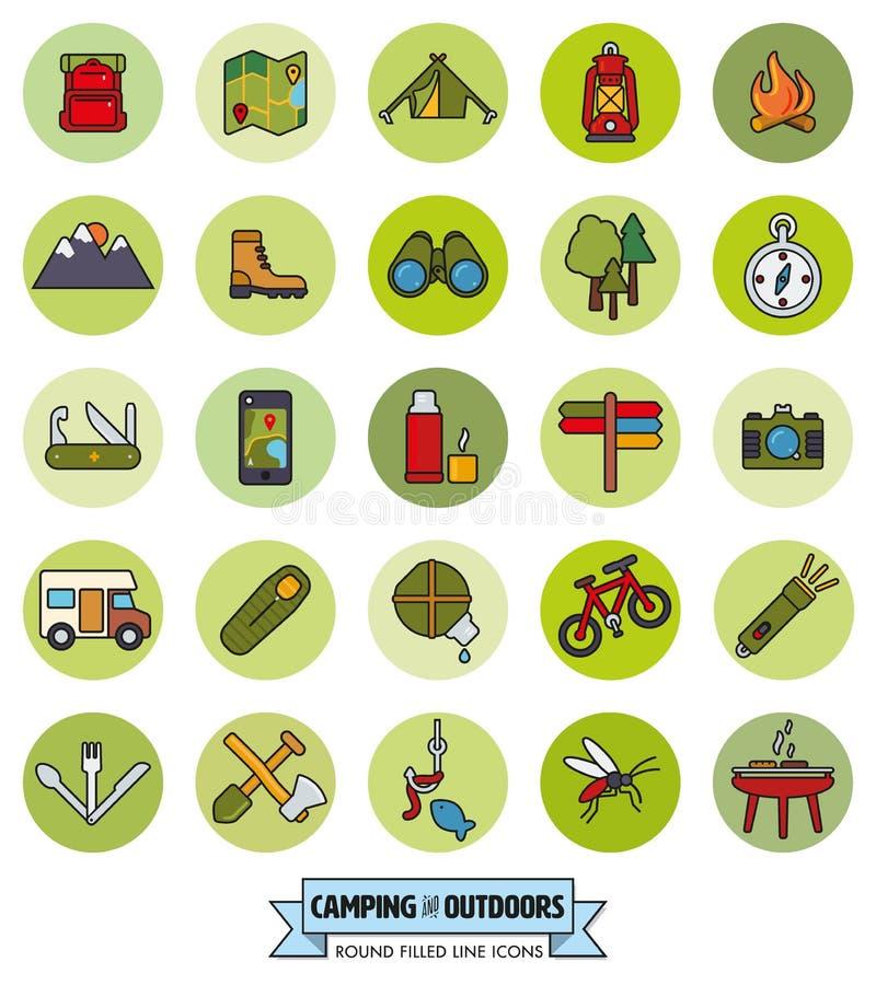 Linea riempita rotonda insieme di inseguimenti all'aperto e di campeggio dell'icona illustrazione di stock