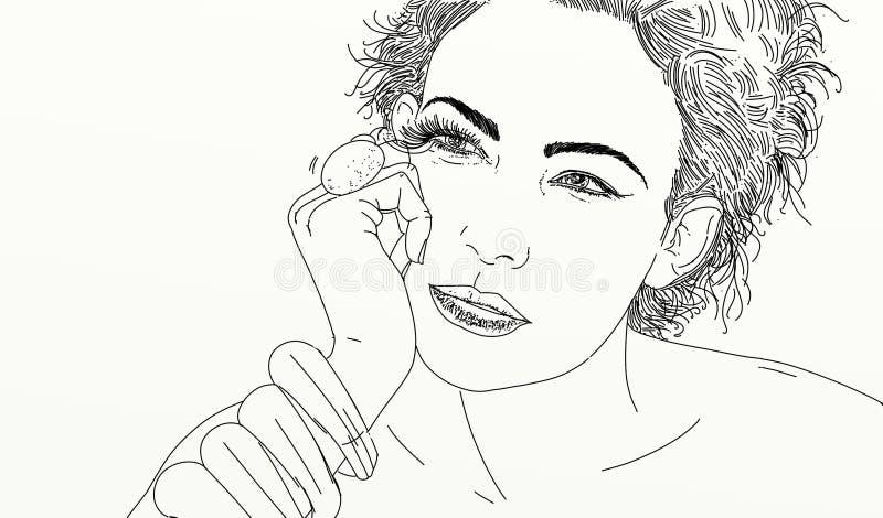 Linea ritratto della donna di arte illustrazione vettoriale