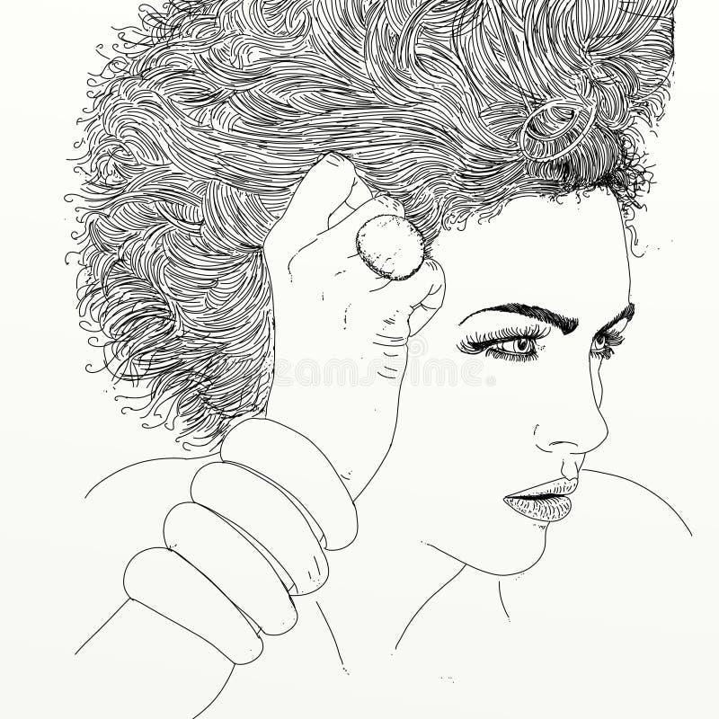 Linea ritratto di arte della donna illustrazione vettoriale