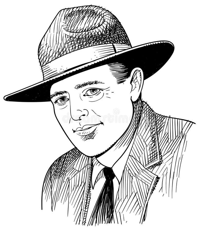Linea ritratto di Jack London di stile di arte illustrazione di stock