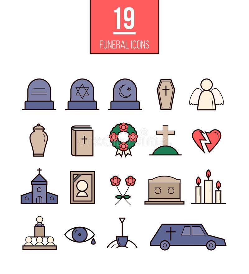 Linea rituale icone di vettore di stile Oggetti funerei illustrazione di stock