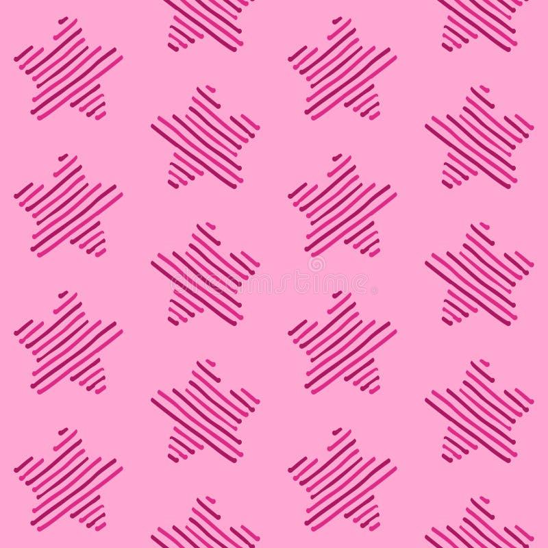 Linea rosa modello senza cuciture della stella fotografia stock