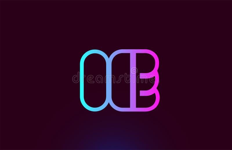 Linea rosa progettazione dello IE CIOÈ dell'icona di logo di combinazione di lettera di alfabeto illustrazione di stock