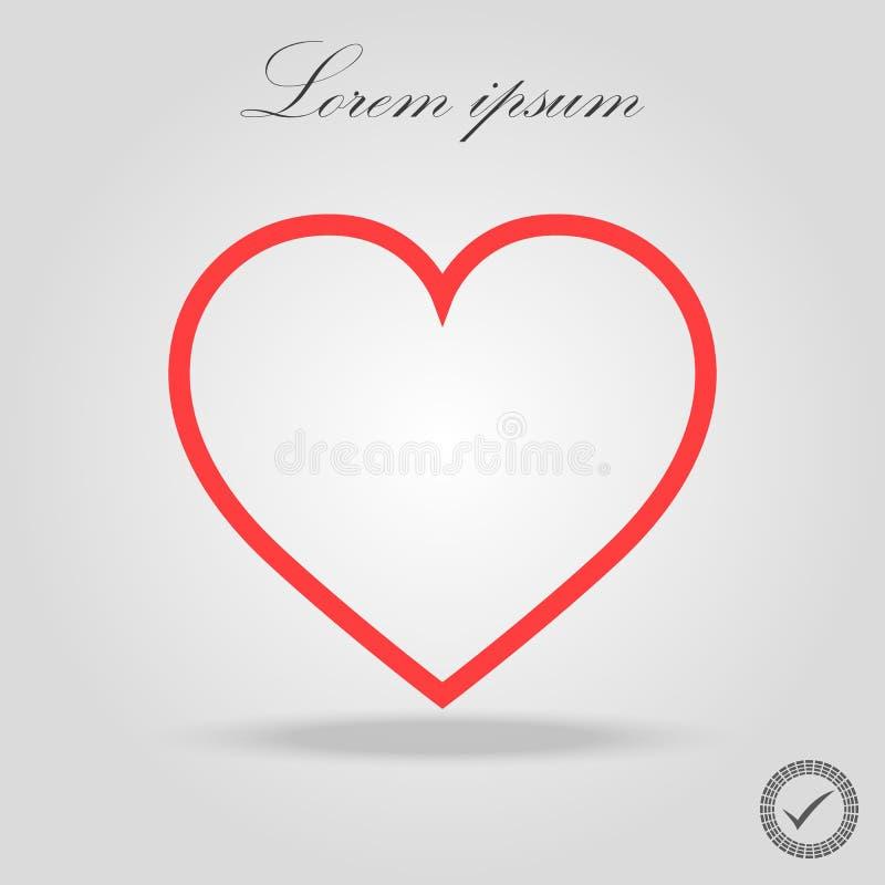Linea rossa vettore, giorno dell'icona del cuore del biglietto di S. Valentino s di simbolo di amore illustrazione di stock