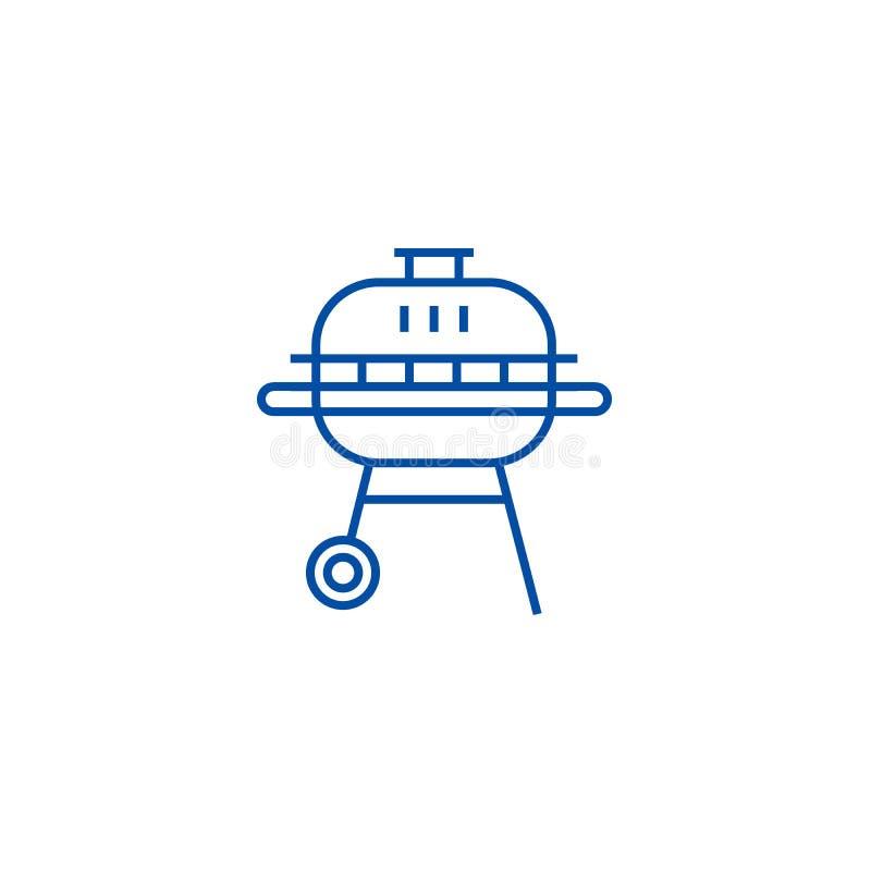 Linea rotonda concetto del barbecue dell'icona Simbolo piano di vettore del barbecue rotondo, segno, illustrazione del profilo royalty illustrazione gratis