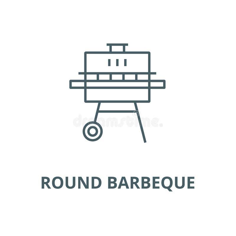 Linea rotonda icona, concetto lineare, segno del profilo, simbolo di vettore del barbecue illustrazione vettoriale
