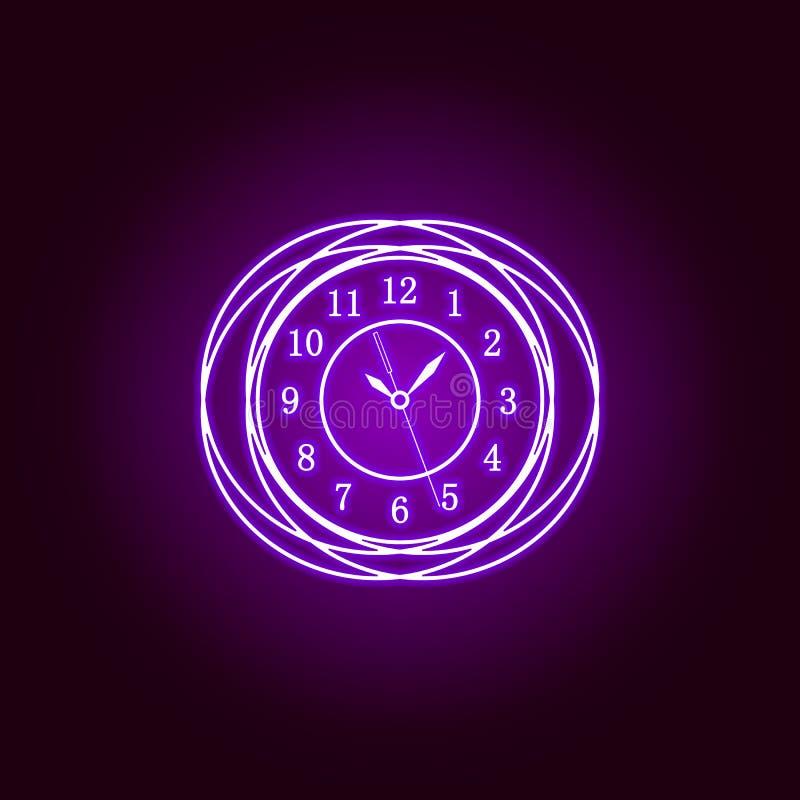 Linea rotonda icona dell'orologio di parete nello stile al neon Progettazione grafica di qualit? premio Segni, raccolta di simbol royalty illustrazione gratis