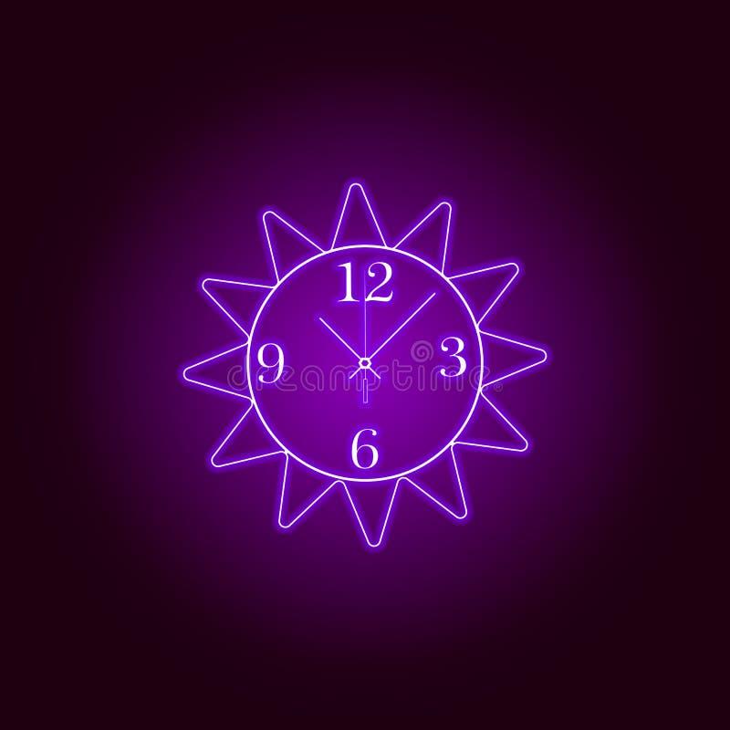 Linea rotonda icona dell'orologio di parete nello stile al neon Progettazione grafica di qualit? premio Segni, raccolta di simbol illustrazione di stock