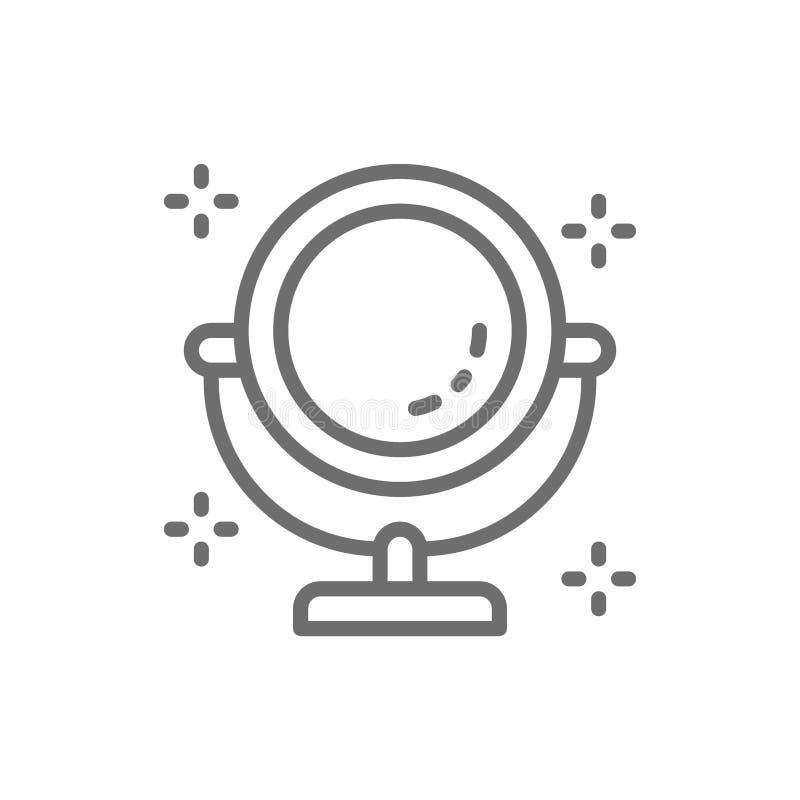 Linea rotonda icona dello specchio di trucco illustrazione vettoriale